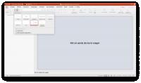 Schermopname van PowerPoint voor het invoegen van een nieuwe dia via een template.